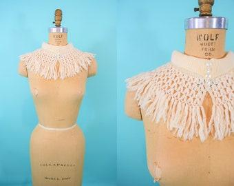 Vintage 1950s Wool Collar   Vanette Creations Beige Sweater Scarf Bib