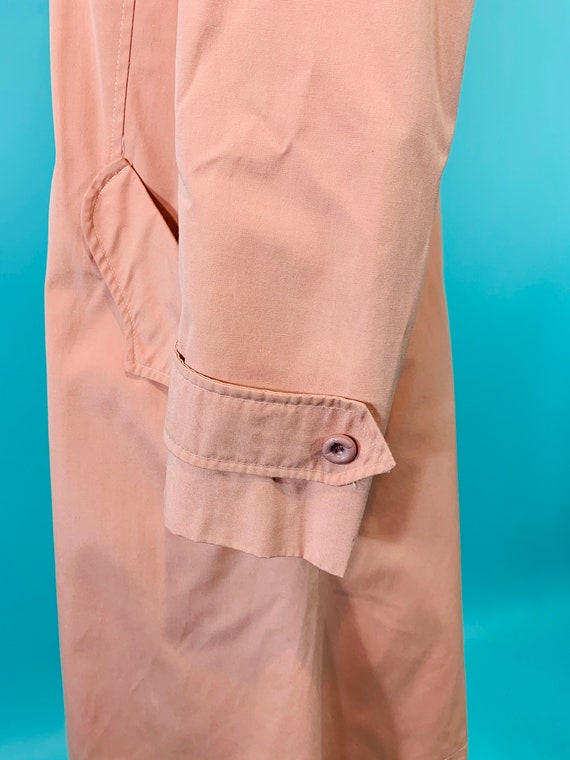Vintage 1980s Peach Trench | Light Peach Pink Tre… - image 4
