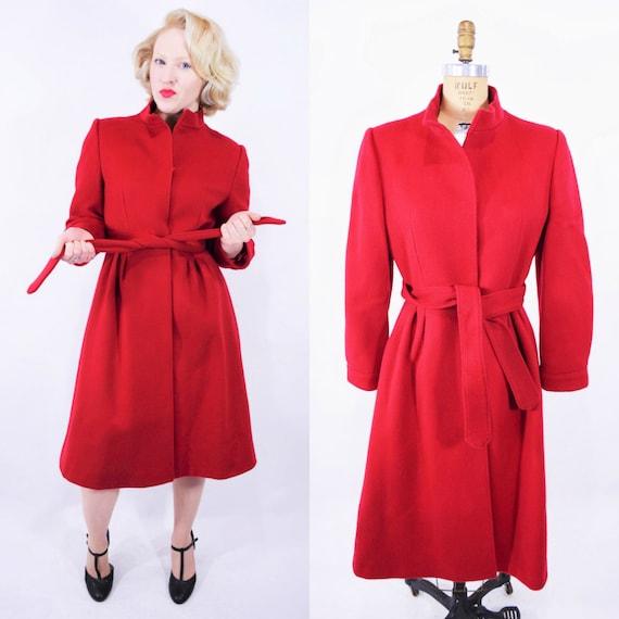 Vintage 1980s Wool Coat   Cherry Red Forstmann Pri