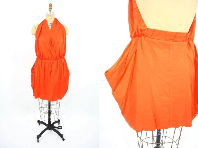 Vintage 1980s Top  Silky Orange Backless Architectural Halter image 0