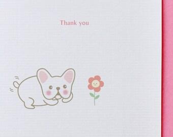 French Bulldog Thank You Card - Funny, Unique, Cute, Kawaii, French Bulldog, Dog, Animal Card, Love