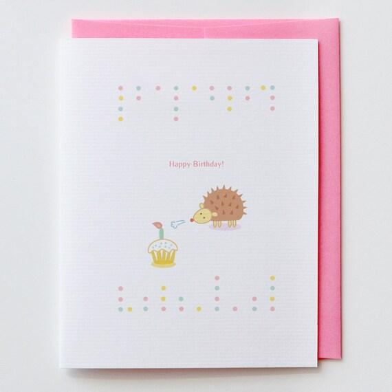 Hedgehog Birthday Card Kawaii Cute Happy Birthday Etsy
