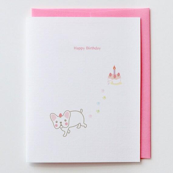 Erdbeeren Franzosisch Bulldog Geburtstag Karte Erdbeere Etsy