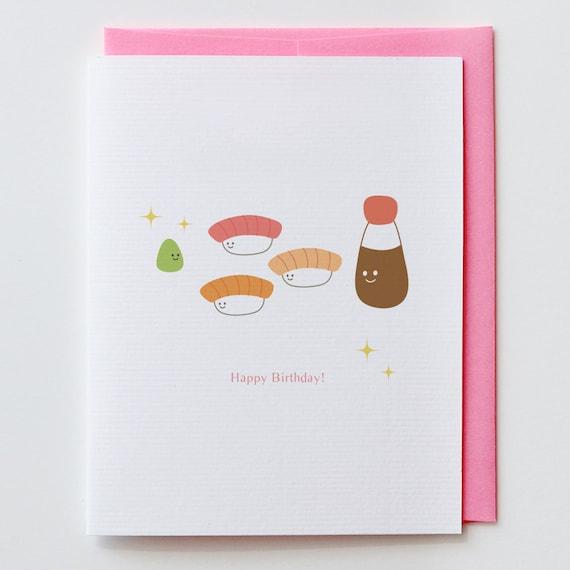 Wasabi Birthday Card Shishi Japanese Kawaii Cute Happy Etsy