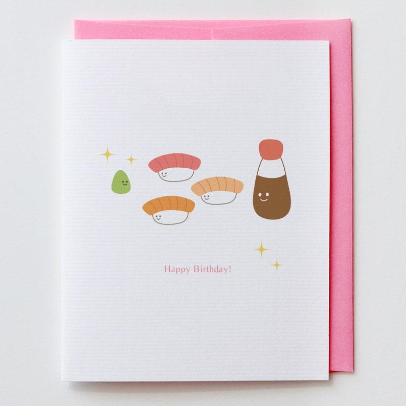 Wasabi Birthday Card Shishi Japanese Kawaii Cute Happy