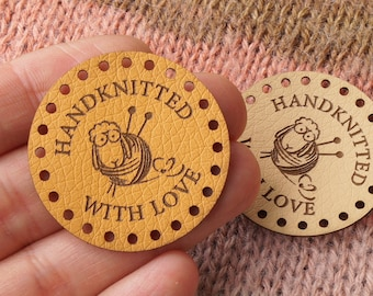 Tags for handmade items, round faux leather labels, leather labels, tags for handmade items, faux leather tags, personalized tags, 25 pc