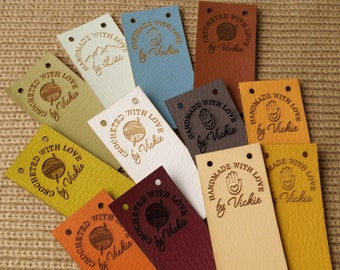 Custom clothing labels, labels for handmade items, vegan leather tags, personalized labels, knitting labels, leather tags for crochet, 25 pc