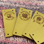 Labels, leather labels for handmade products, custom clothing labels, knitting labels, labels for crochet, personalized, leather tags, 25 pc