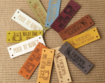 Leather tags for handmade items, personalized knitting or crochet labels, set of 25 pc