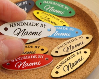 Acrylic tags for handmade items - personalized labels for knitting, crochet, sewing, accessories, swimwear - custom clothing labels - 25 pc