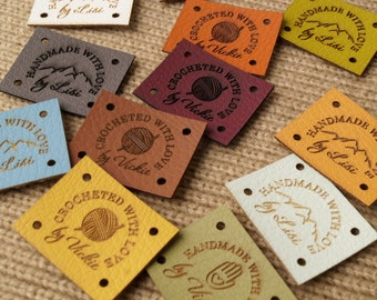 Leather labels for handmade items, custom clothing labels, knitting labels, crochet tags, set of 25