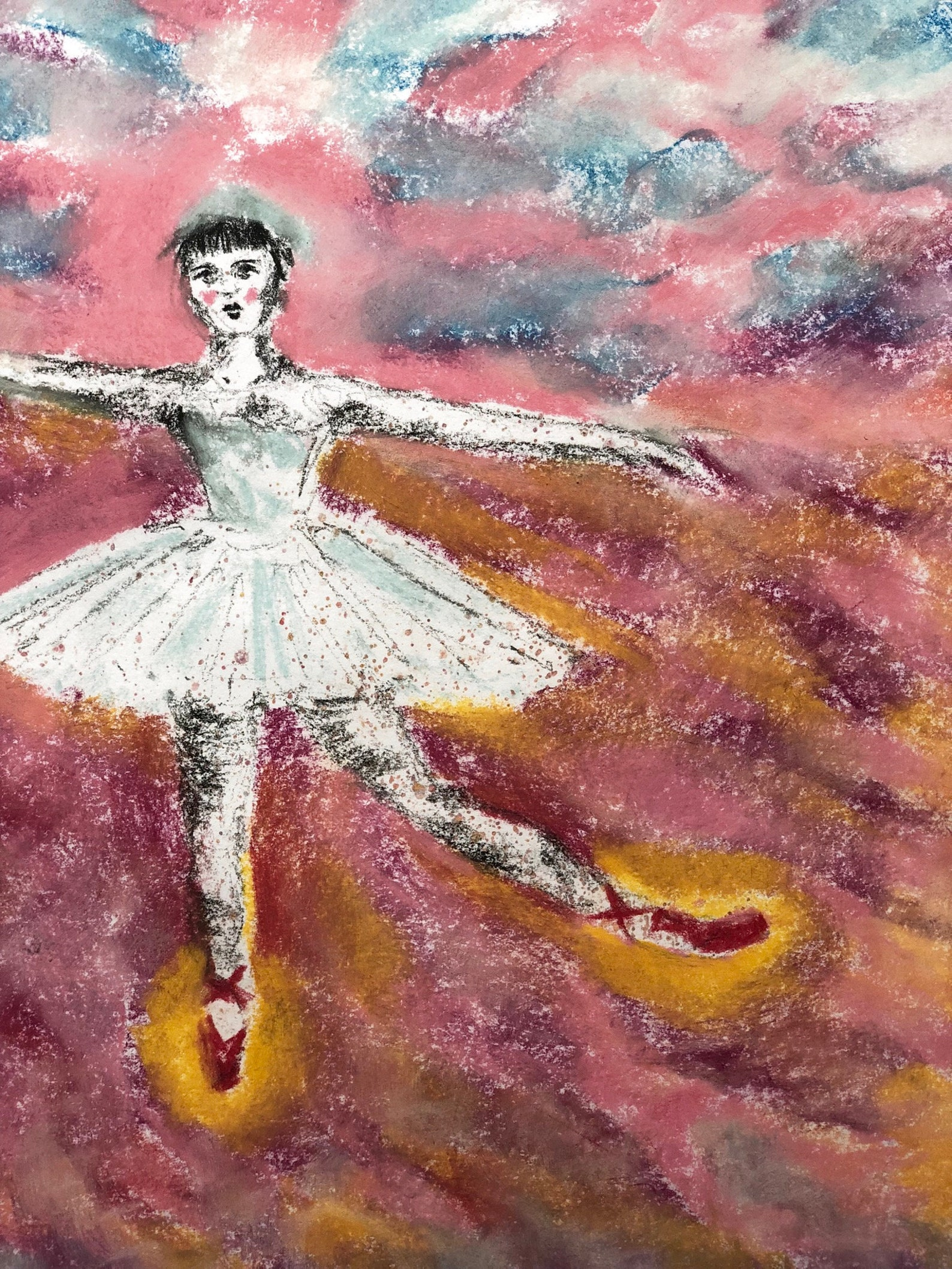 the red shoes ballet dancer pastel drawing art print