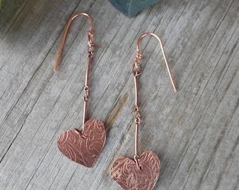copper earrings,Heart earrings,dangle earrings,heart dangle earrings,handmadejewelry,,hypoallergenic earrings,
