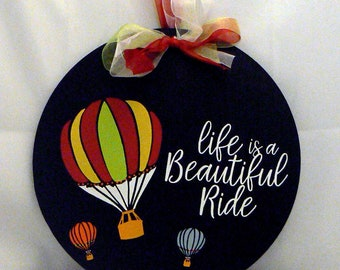 Chalk Couture Life is a Beautiful Ride Round Chalkboard Hot Air Balloon Sign