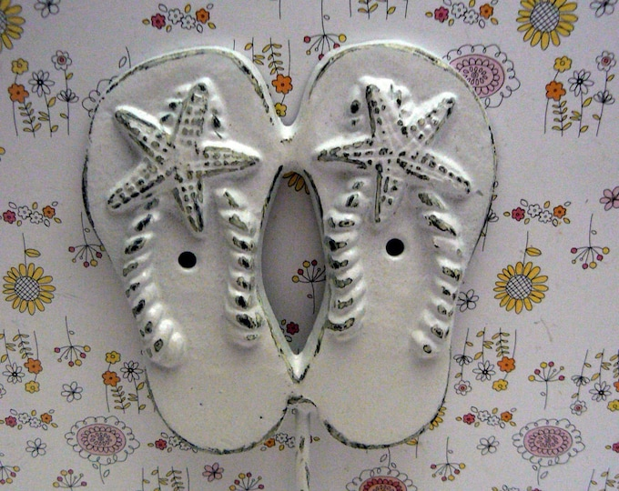 Flip Flops Wall Hook Shabby Chic Beach White Starfish Hook