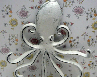 Octopus Cast Iron Tentacle Wall Hook Shabby Chic Cottage Chic Nautical Beach House Home Decor