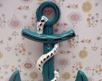 Anchor Cast Iron Hook Lagoon Teal Blue Shabby Chic Cottage Chic Beach Nautical Home Decor