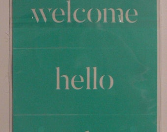 Chalk Couture Welcome Trio Unused Transfer Silkscreen Reusable Stencil DIY Craft Supply Trio of Words Welcome Hello Gather