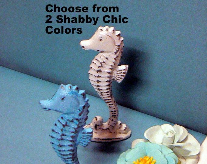 Seahorse Statue Cast Iron Metal Figurine Shabby Chic Nautical Sea Horse Coastal Beach Table Decor Choose Classic White OR Aqua Blue