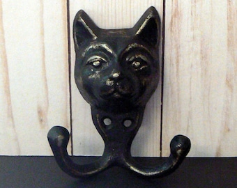 Cat Face Cast Iron Kitten Shabby Chic Classic Black Wall Hook