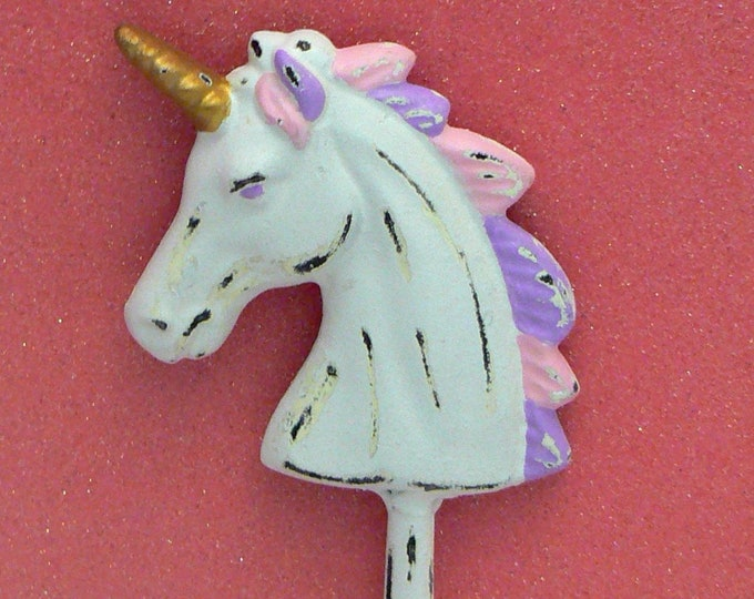 Unicorn Wall Hook Shabby Chic White Pink Lavender Cast Iron Hook