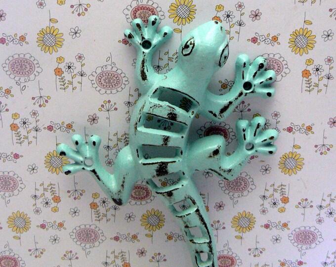 Lizard Gecko Cast Iron Wall Hook Boho Blue Shabby Chic Beach Stylish Fence Art