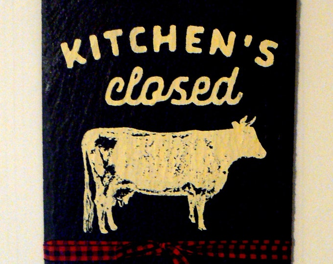 Farmhouse Cow Black Slate Wall Sign Kitchen's Closed Chalk Couture Design Country Chic