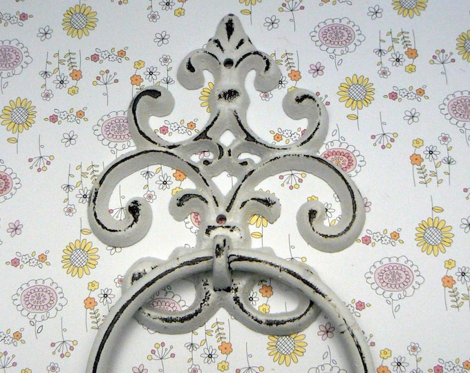 Fleur de lis Cast Iron Shabby Chic White FDL Small Hand Towel Wall Holder Home Decor