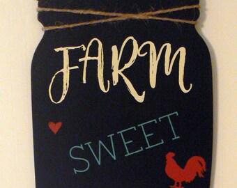 Chalk Couture Farm Sweet Farm Chalkboard Mason Jar Farmhouse Door Sign