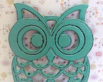 Owl Trivet Hot Plate Rich Medium Aqua Turquoise Shabby Elegance Distressed Kitchen Rustic Chic Woodsy Decor Aqua Blue Ornate Cast Iron