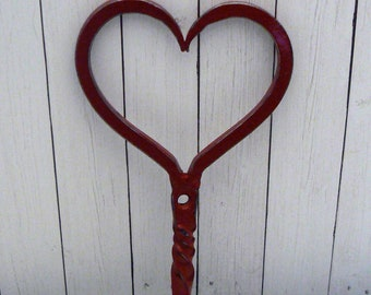 Heart Wall Hook Red Twisted Valentine Heart Hook
