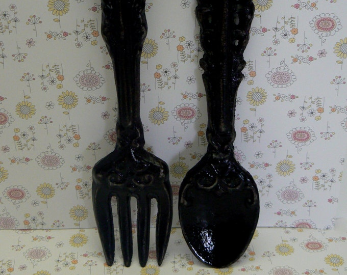 Fork Spoon Set Wall Decor Shabby Chic Black Home Decor Wall Art