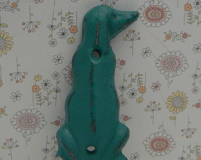 Dog Hook Cast Iron Beach Teal Blue Leash Hook Cottage Chic Home Decor