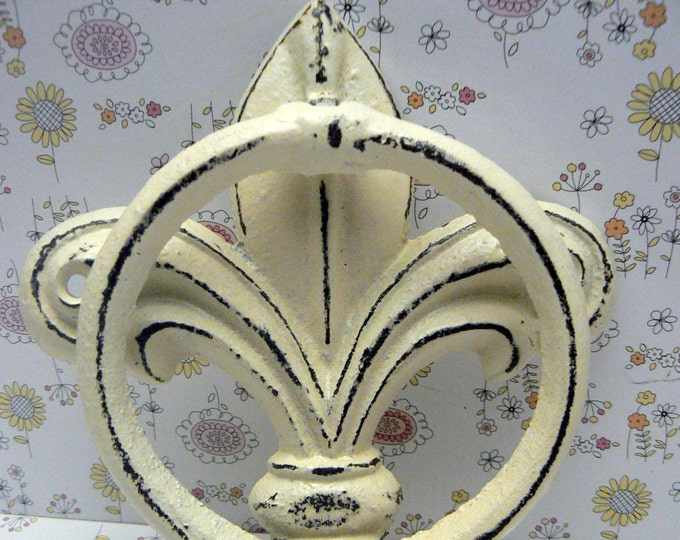 Fleur de lis Cast Iron Shabby Chic Off White FDL Welcome Door Knocker Home Decor