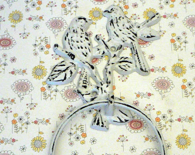 Love Birds Cast Iron Shabby Chic White Hand Towel Wall Holder Home Decor