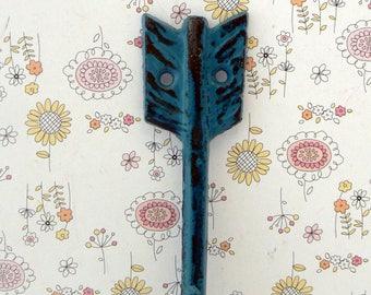 Arrow Cast Iron Boho Shabby Chic Wall Hook Teal Blue Bohemian Home Decor