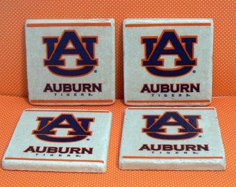Auburn Tigers Football Natural Stone Tile 4x4 Drink Coaster Set of 4 Kitchen Dorm Home Decor
