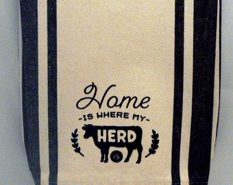 Home Is Where My Herd Is Kitchen Tea Towel Black Retro Stripe