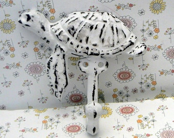 Sea Turtle Cast Iron Hook White Cottage Chic Shabby Chic Nautical Beach Home Decor