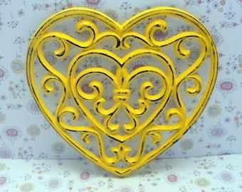 Heart Cast Iron Trivet Hot Plate Sunny Warm Yellow Distressed Shabby Elegance Ornate Swirly Heart Shaped Fleur de lis Center French Decor