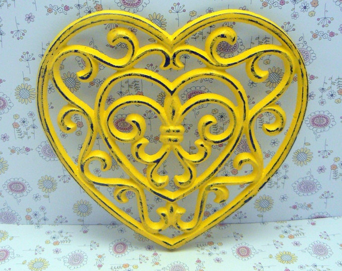 Heart Cast Iron Trivet Hot Plate Yellow Shabby Chic Fleur de lis FDL French Country Kitchen Home Decor