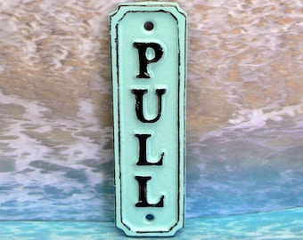 Pull Cast Iron Beach Blue Wall Sign Shabby Chic Home Office Decor