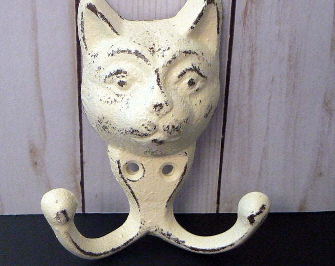 Cat Face Cast Iron Kitten Shabby Chic Cream Off White Wall Hook