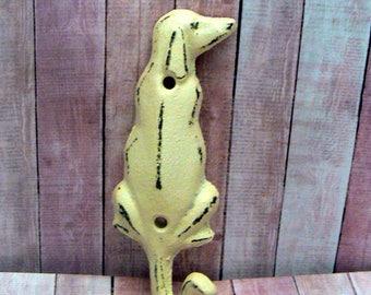 Dog Hook Cast Iron Wall Hook Shabby Elegance Cream Off White Coat Jewelry Pet Leash Scarf Hat Cap Keys Towel Key Cute Groomers Vet Decor