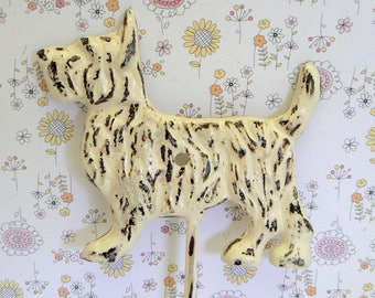 Scottish Terrier Dog Hook Shabby Chic Off White Scottie Canine Gift Idea
