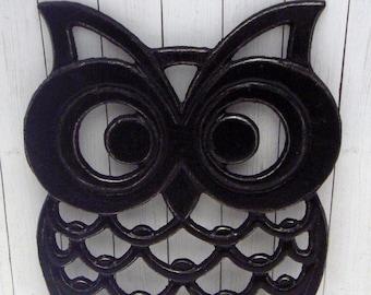 Owl Trivet Hot Plate Black Shabby Elegance Distressed Kitchen Rustic Woodsy Decor Ornate Cast Iron