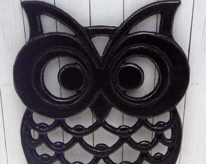 Cast Iron Owl Trivet Black Shabby Chic Woodland Kitchen Hot Plate Home Decor