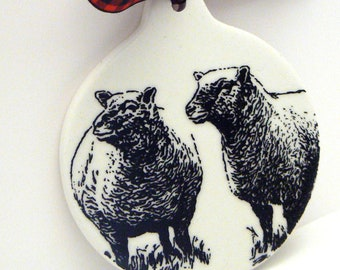 Sheep Ornament Christmas Farmhouse Country Chic Ceramic Holiday Gift Decor