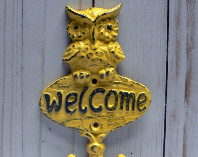 Owl Welcome Wall Hook Shabby Chic Yellow Metal Cast Iron Leash Keys Mudroom Key Woodland Rustic Woodsy Cabin Owl Small Entryway Double Hooks