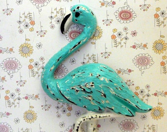 Flamingo Cast Iron Wall Hook Shabby Chic Turquoise Aqua Rustic Beach Decor